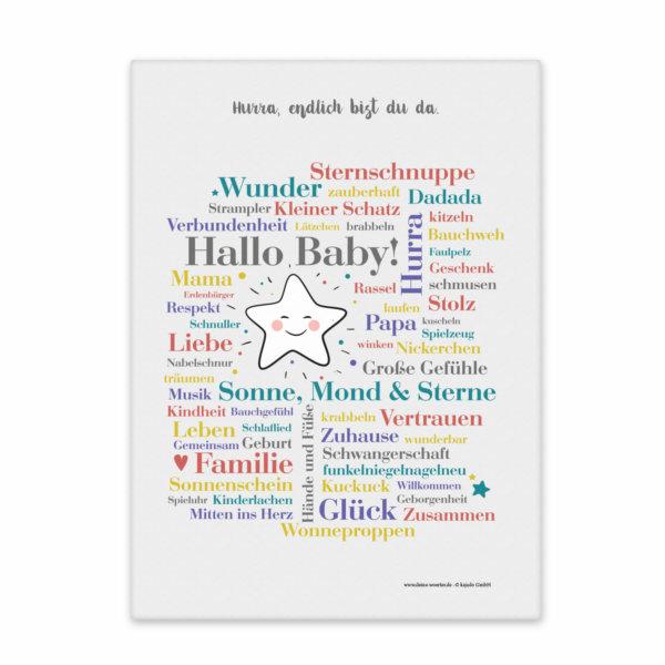 Leinwand Hallo Baby Vorderansicht