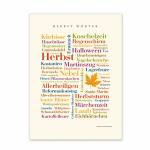 Leinwand Herbst Wörter Vorderansicht