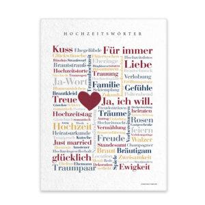 Leinwand Hochzeit Wörter mit Keilrahmen Frontansicht