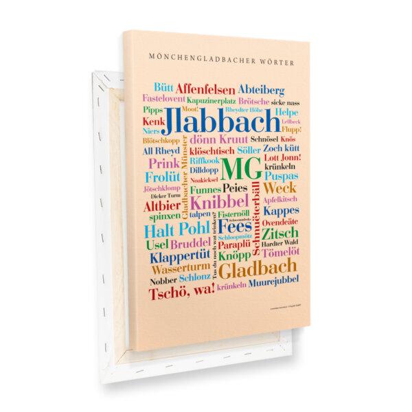 Leinwand Moenchengladbach Wörter mit Keilrahmen Profilansicht