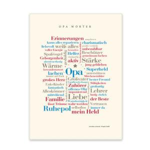 Leinwand mit den schönsten Wörtern für Opa.