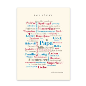 Leinwand mit den schönsten Wörtern für Papa.