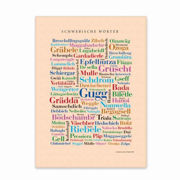 Leinwand Schwäbische Wörter Keilrahmen Vorderansich