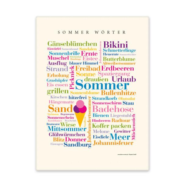 Leinwand mit den Sommer Wörtern Front.