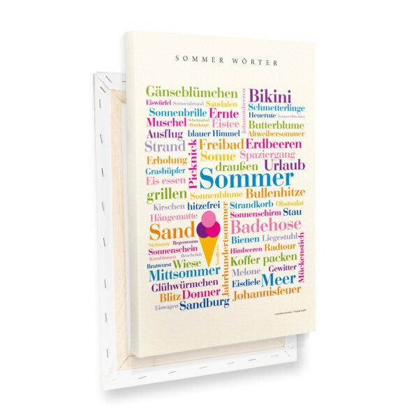 Leinwand mit den Sommer Wörtern.