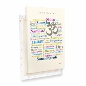 Leinwand Yoga Wörter Profilansicht.