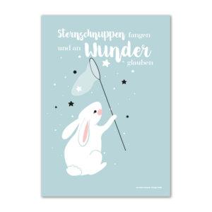 Poster Sternschnuppen fangen und an Wunder glauben für das Kinderzimmer in Pastellfarben.