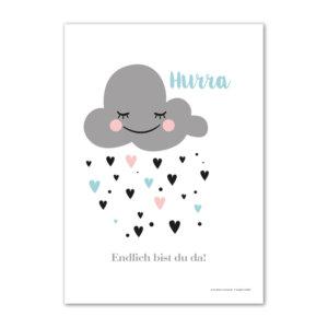 Das Mini-Poster Hurra, endlich bist du da! als Geschenk zur Geburt.
