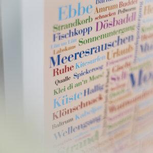 Das Plakat mit Wörtern der Nordsee
