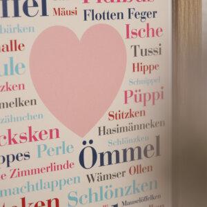 Das Poster mit Kosenamen aus dem Ruhrgebiet.