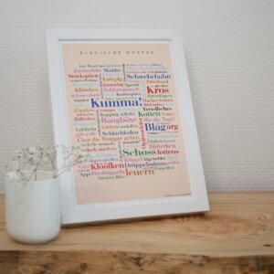 Poster Bergischer Dialekt und Wörter