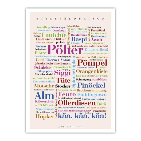 Das Poster Bielefelderisch mit den schönsten Wörtern.