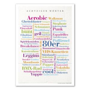 Das Poster mit den orginellsten Wörtern der Achziger Jahre.