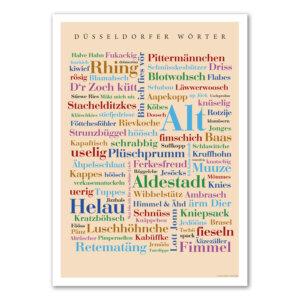 Das Poster mit den Düsseldorfer Wörtern als Geschenkidee.