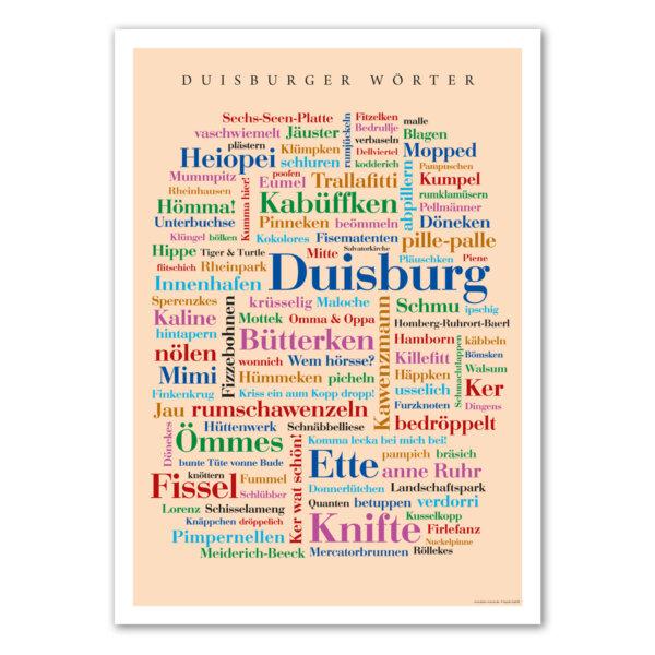 Das Poster mit den schönsten Wörtern aus Duisburg.