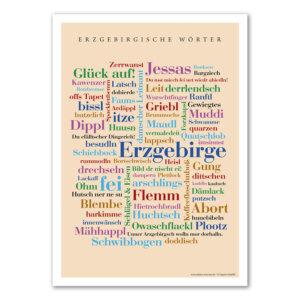 Die schönsten Wörter des Erzgebirges auf einem Poster vereint.
