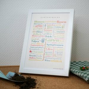 Poster mit Gartenwörtern für Gartenfans