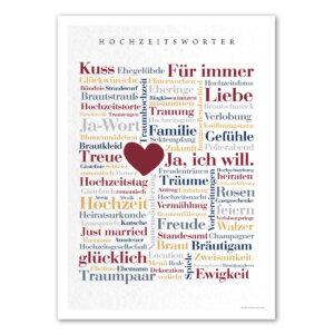 Das Poster mit den schönen Hochzeitswörtern als Geschenkidee für das Brautpaar.