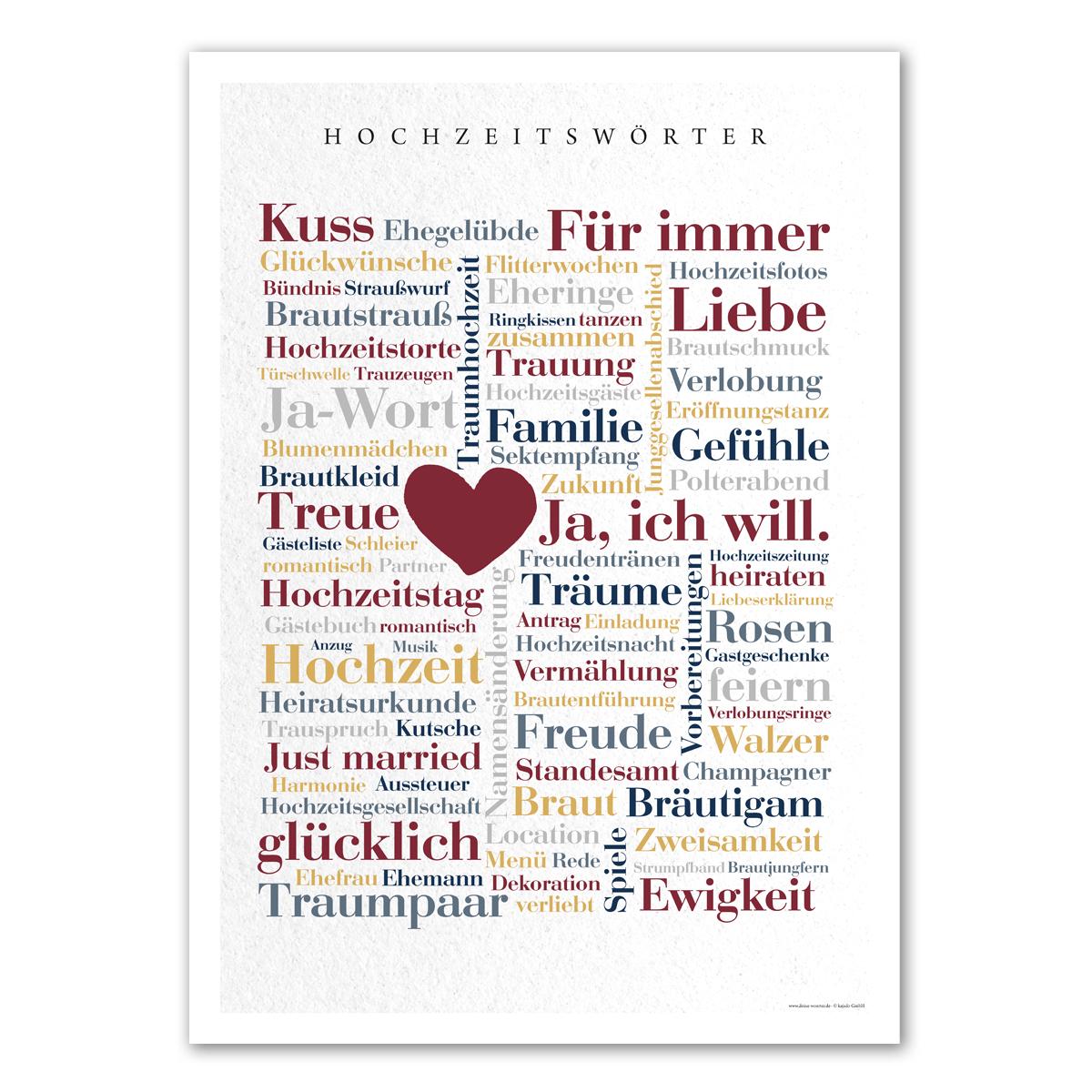 Poster Hochzeitswörter - Deine Wörter Geschenkideen