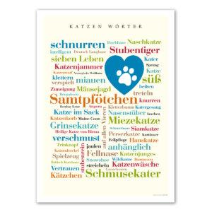 Poster mit den schönsten Katzen Wörtern.