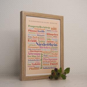 Poster mit Wörtern vom Niederrhein.