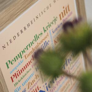 """Poster mit Niederrhein Wörtern """"Pempernelles krieeje""""."""
