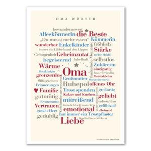 Endlich sind die schönsten Wörter aus dem Leben einer Oma auf einem liebevoll gestalteten Poster vereint.