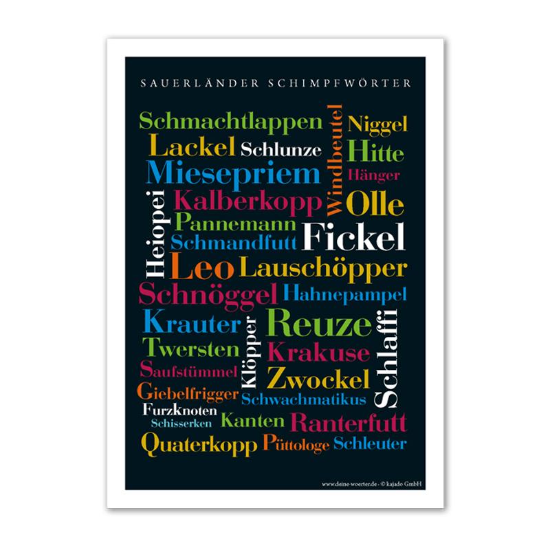 Das Poster mit den kreativsten und lustigsten Schimpfwörtern aus dem Sauerland.