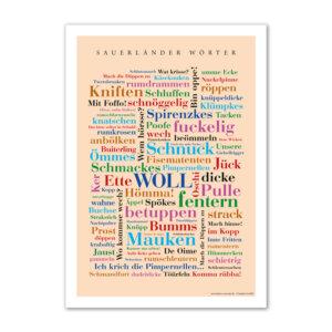 Das Poster mit den lustigsten und schönsten Wörtern aus dem Sauerland.