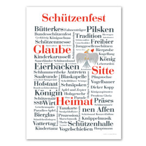 Das Poster mit den schönsten und lustigsten Schützenfest Wörtern.