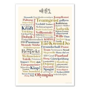 Das Taekwondo Poster mit den schönsten Wörtern rund um die Sportart.
