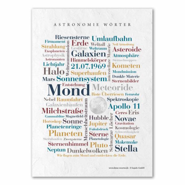 Die Postkarte mit den Astronomie Wörtern für Astronomen.