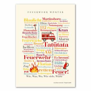 Die Postkarte Feuerwehr Wörter Tatütata