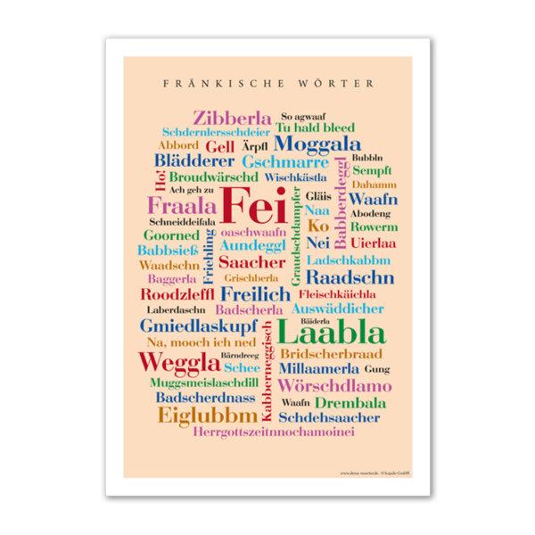 Postkarte (DIN A6) mit Motiv Fränkische Wörter.