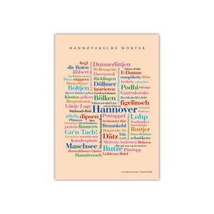 Die schönsten Wörter Hannovers auf einer Postkarte zusammengestellt.