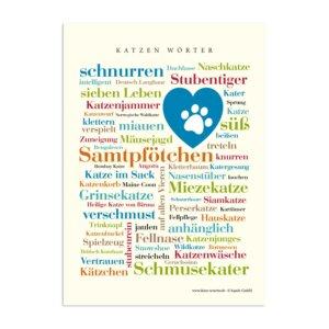 Postkarte Katzen Wörter