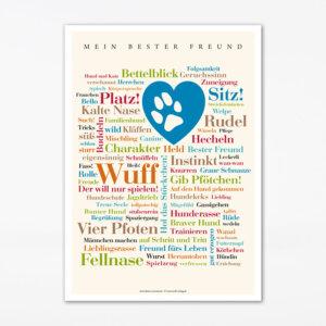 """Die Postkarte """"Mein bester Freund"""" ist ein tolles Geschenk für Hundebesitzer, Hundefreunde, Herrchen und Frauchen."""