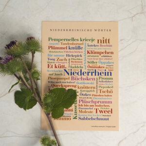 Postkarte Niederrheinische Wörter (DIN A6) als Dekoration.