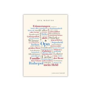 Liebevoll gestaltete Postkarte mit den schönsten Wörtern aus dem Alltag eines Opas.