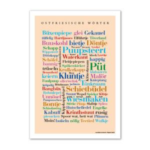 Postkarte (DIN A6) mit Motiv Ostfriesische Wörter.
