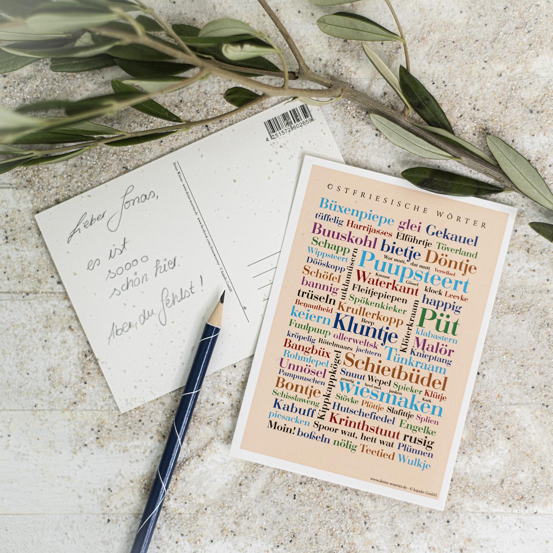 Die Postkarte mit osfriesischen Wörtern.