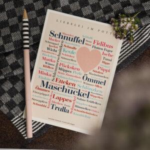 Postkarte mit den Kosenamen aus dem Ruhrgebiet.