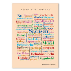 Die Postkarte mit den schönsten Wörtern aus Sachsen.