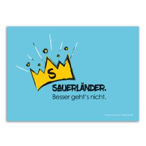 """Die Postkarte mit dem Motiv """"Sauerländer. Besser geht´s nicht."""""""