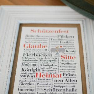 Postkarte mit typischen Schützenfest-Begriffen