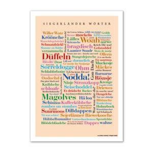Postkarte Siegerländer Wörter im Format DIN A6.