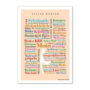 Postkarte Sylter Wörter im Format DIN A6.