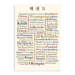 Postkarte mit Wörtern rund um die Sportart Taekwondo