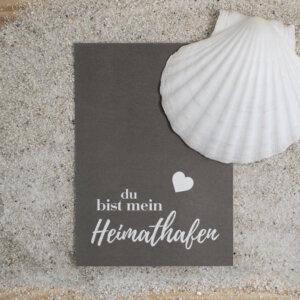Postkarte Heimathafen mit Herz.