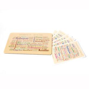 Ruhrpott Wörter Frühstücksbrettchen mit 5 Postkarten als Geschenk.